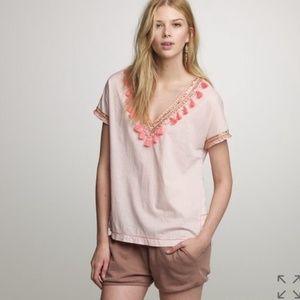 J. Crew pink tassel short sleeve top size 8